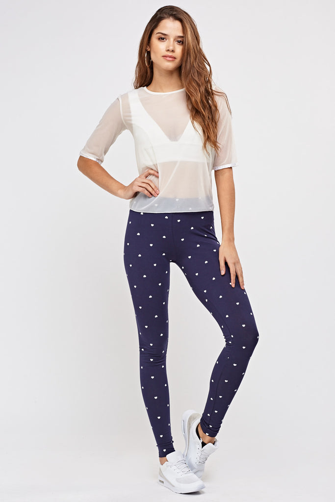 UK Sale | Heart Printed Basic Leggings - Yashry