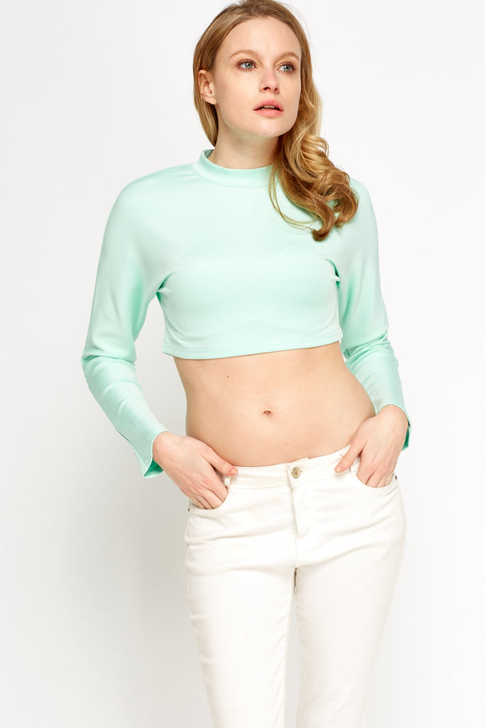UK Sale | High Neck Cropped Top - Yashry