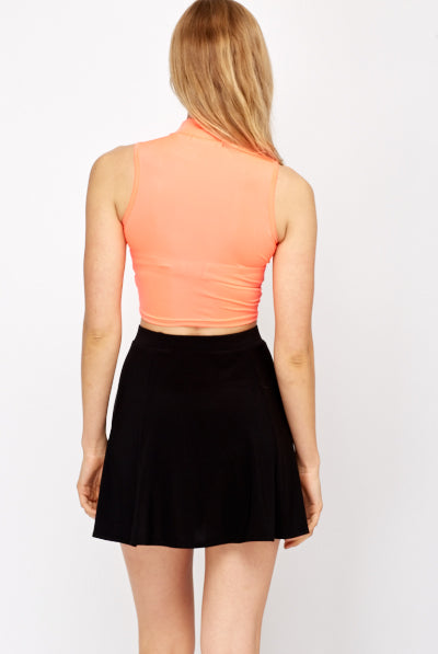 UK Sale | High Neck Neon Crop Top - Yashry