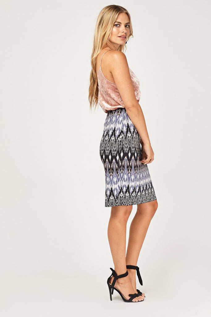 UK Sale | High Waist Aztec Print Skirt - Yashry