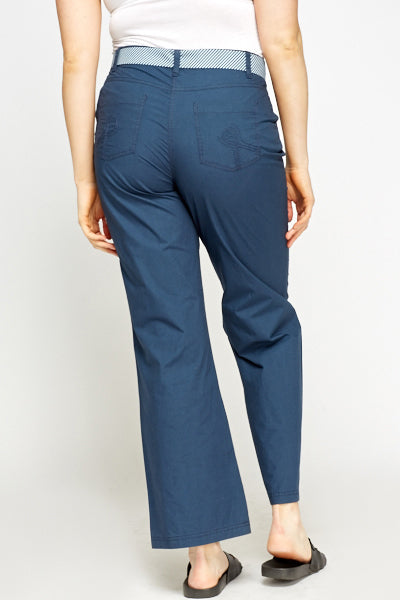 UK Sale | High Waist Middle Blue Trousers - Yashry