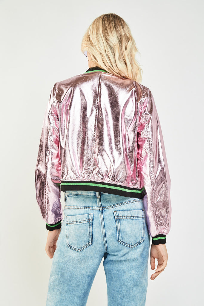 UK Sale | Holographic Applique Bomber Jacket - Yashry
