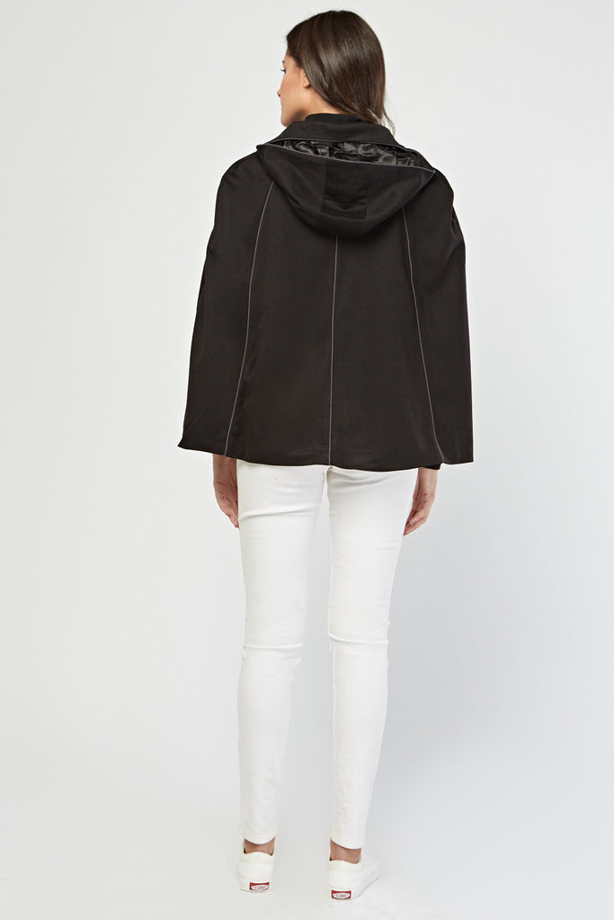 UK Sale | Hooded Button Front Cape - Yashry