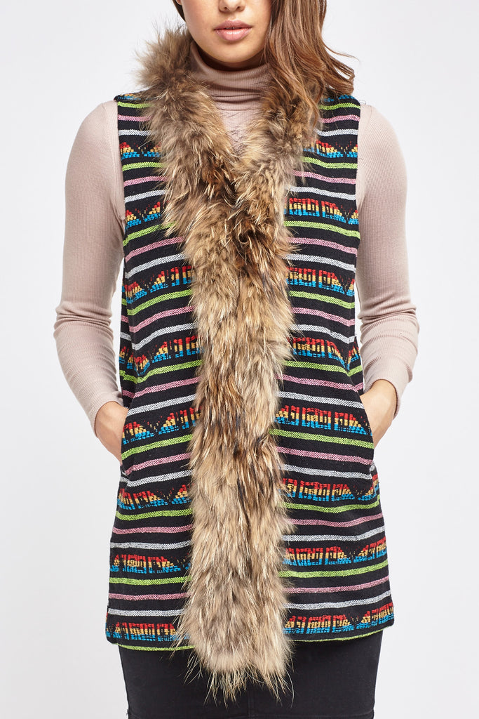 UK Sale | Knitted Geo Contrast Trim Gilet - Yashry