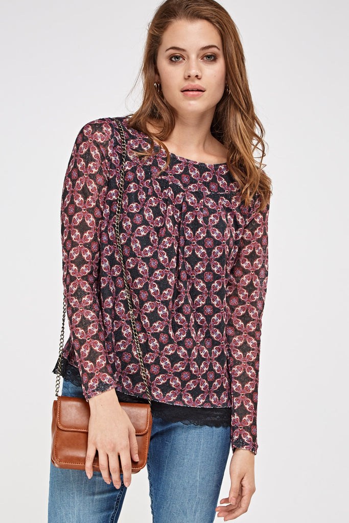 UK Sale | Knitted Lace Trim Top - Yashry