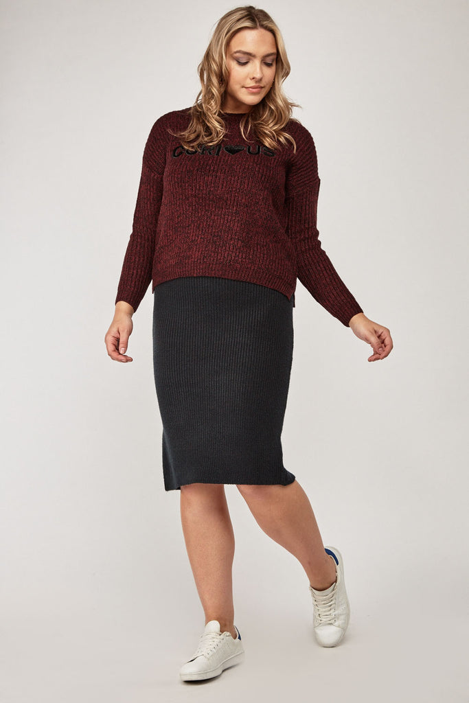 UK Sale | Knitted Midi Tube Skirt - Yashry
