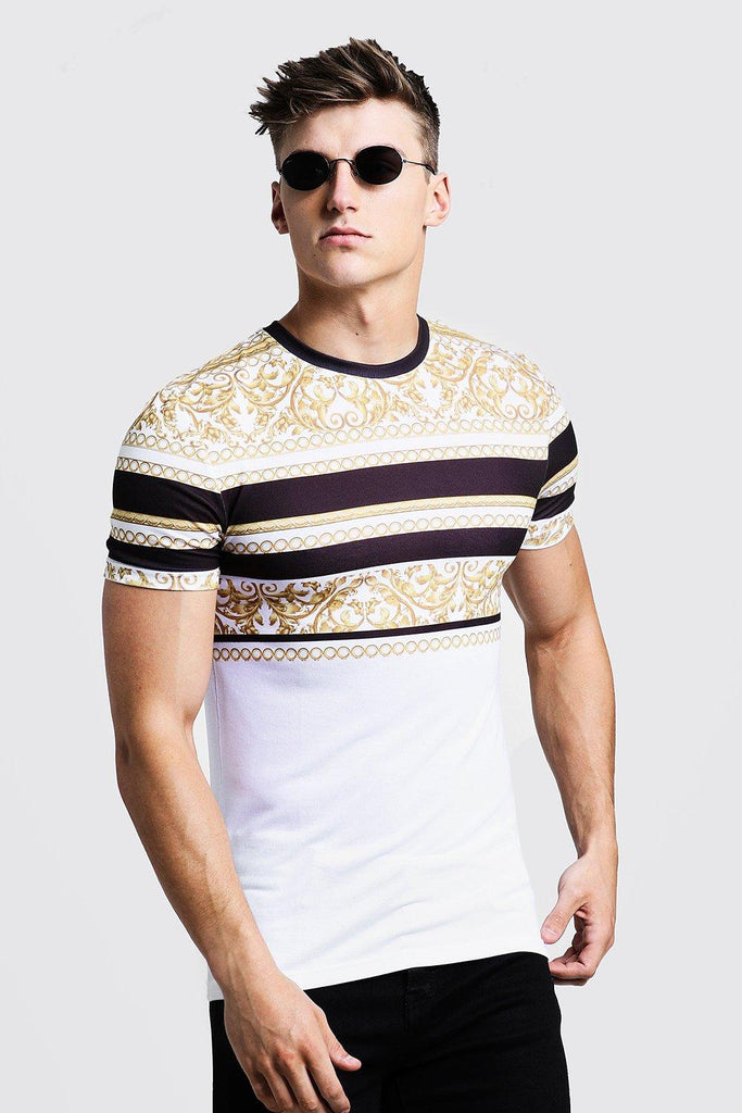 Boohoo | Muscle Fit T-Shirt In Stripe Baroque - Yashry