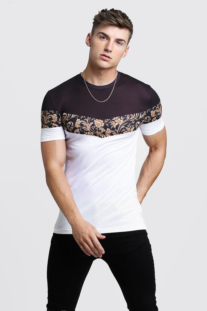 Boohoo | Muscle Fit T-Shirt In Baroque & Colour Block - Yashry