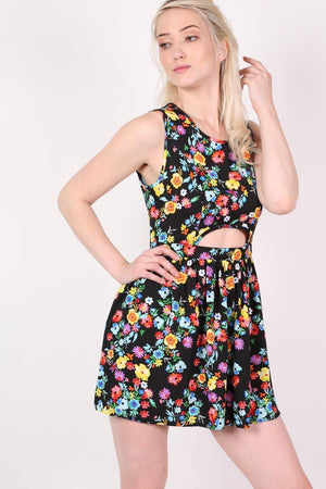 Cut Out Front Floral Dress in Multi Colour 0
