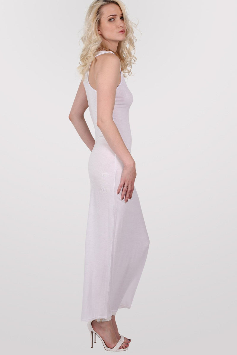 Scoop Neck Sleeveless Maxi Dress in White 4