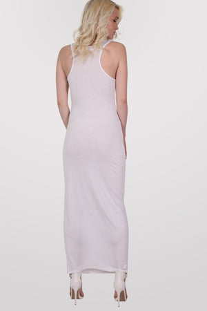 Scoop Neck Sleeveless Maxi Dress in White 5