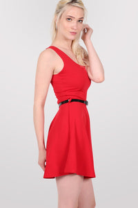 Sleeveless Belted Skater Dress in Red 1