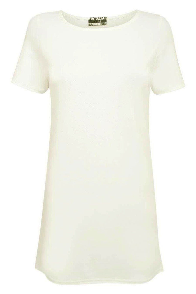 Cap Sleeve Plain Shift Dress in Cream 2