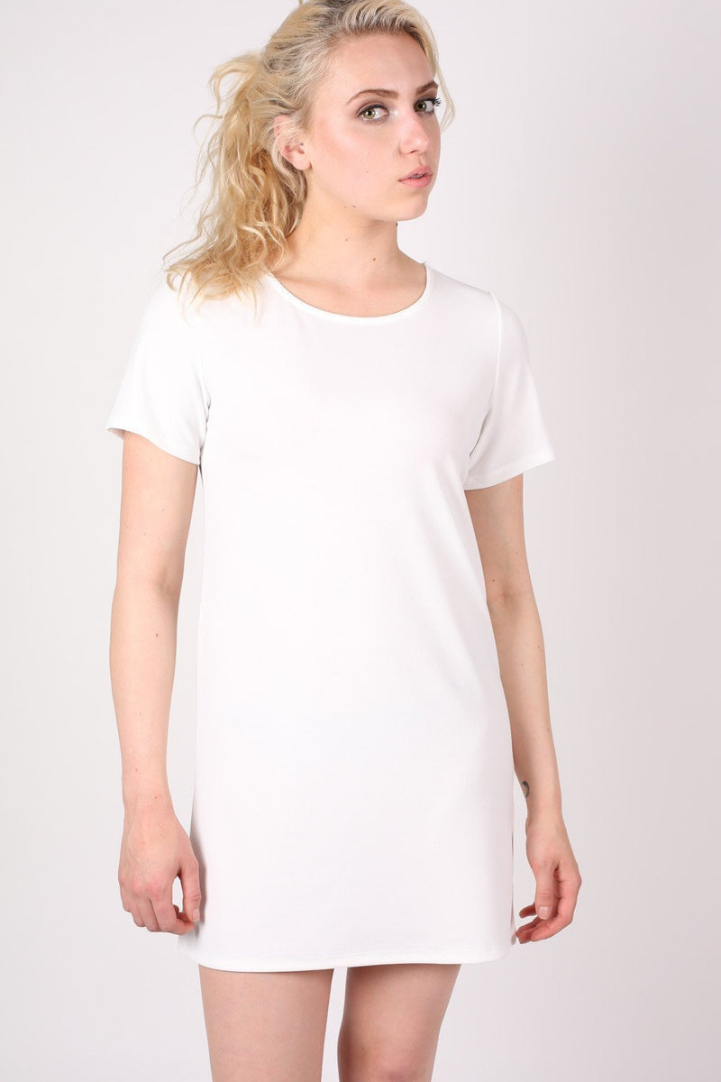 Cap Sleeve Plain Shift Dress in Cream 0