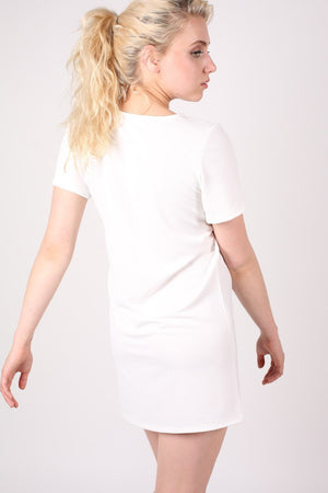 Cap Sleeve Plain Shift Dress in Cream 1