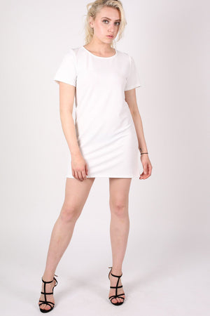 Cap Sleeve Plain Shift Dress in Cream 3