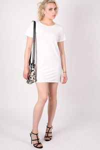 Cap Sleeve Plain Shift Dress in Cream 5