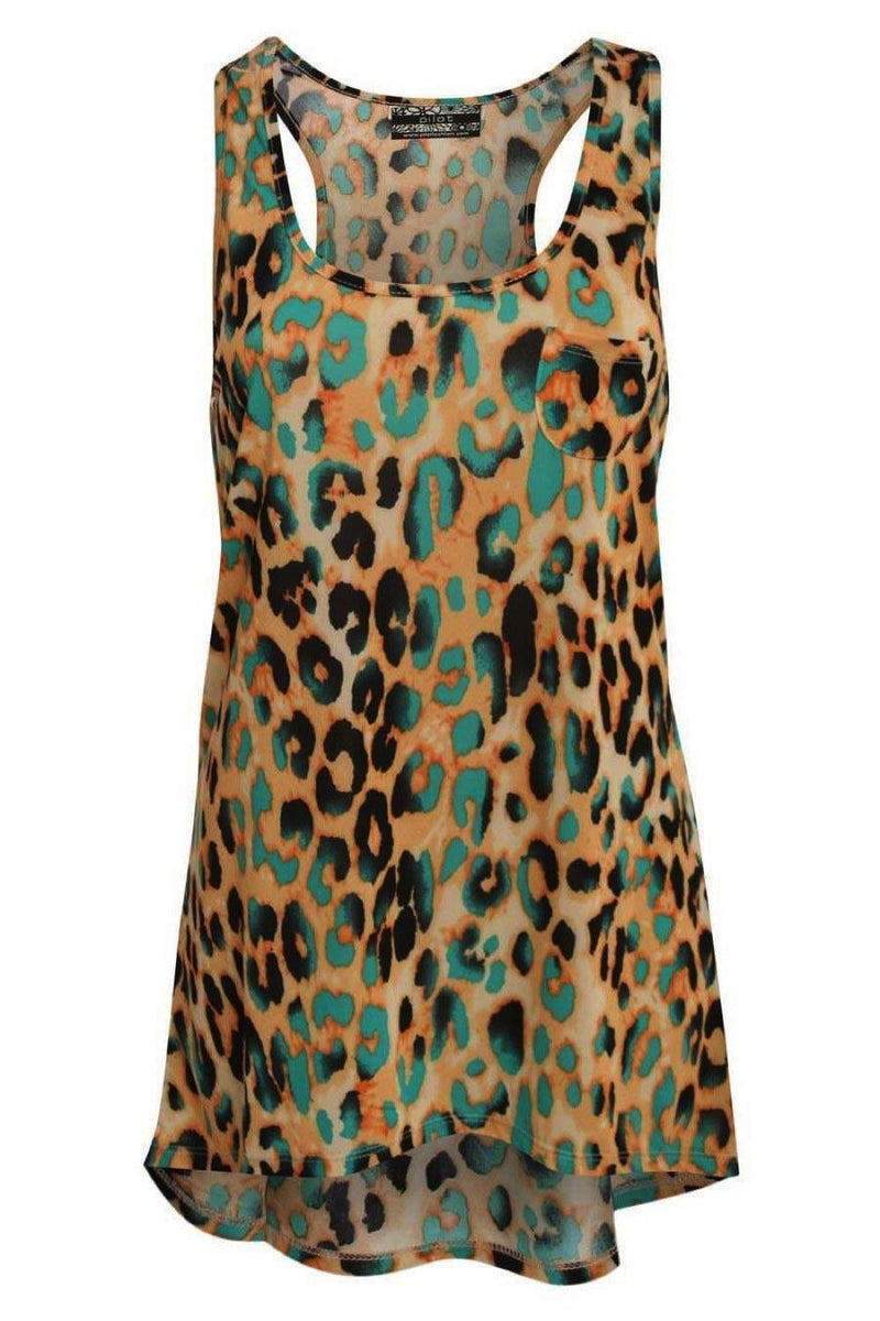 Leopard Print High Low Hem Vest Top in Mustard Yellow 2