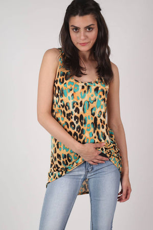 Leopard Print High Low Hem Vest Top in Mustard Yellow 0