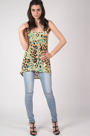 Leopard Print High Low Hem Vest Top in Mustard Yellow 5