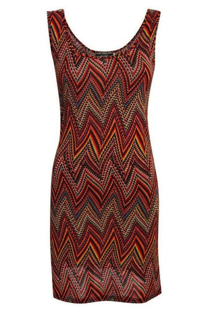 Geometric Print Sleeveless Shift Dress in Claret Red 2