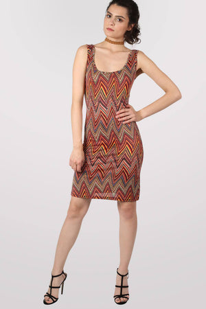 Geometric Print Sleeveless Shift Dress in Claret Red 1