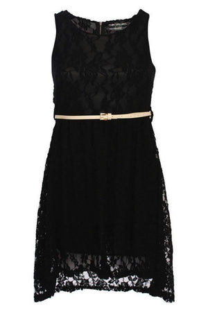 Floaty Lace Sleeveless Skater Dress With Belt in Black 2