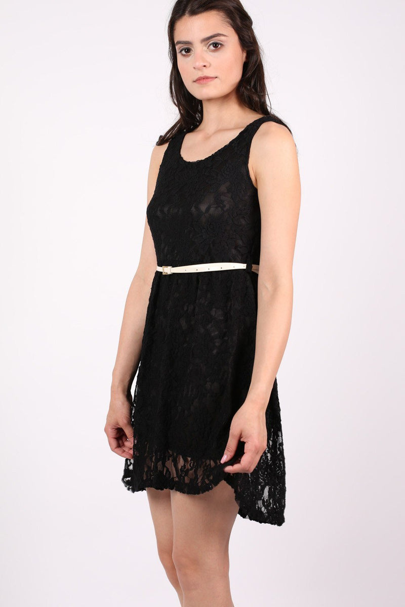 Floaty Lace Sleeveless Skater Dress With Belt in Black 1