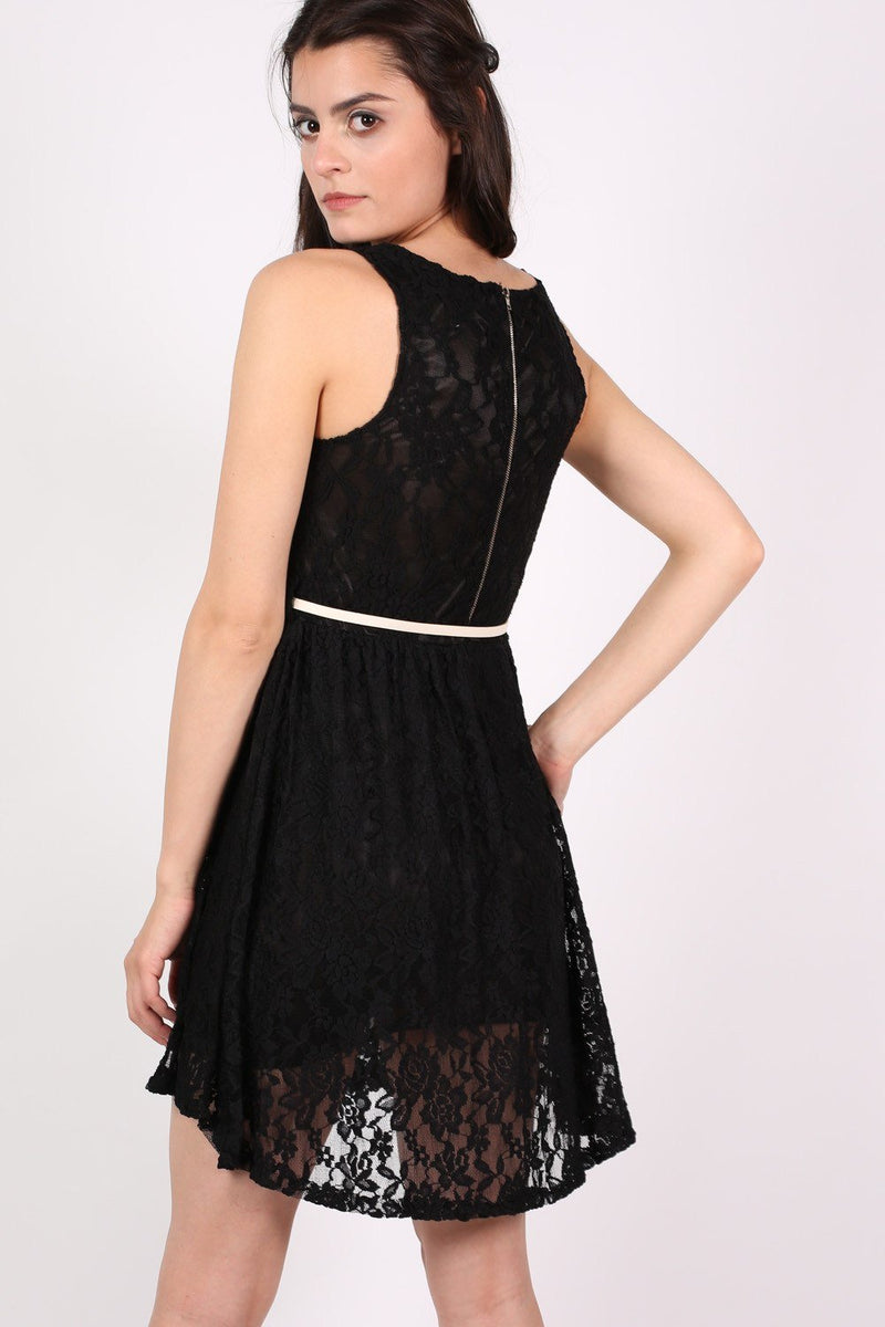 Floaty Lace Sleeveless Skater Dress With Belt in Black 3