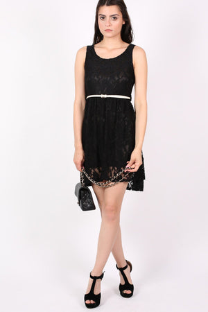 Floaty Lace Sleeveless Skater Dress With Belt in Black 4