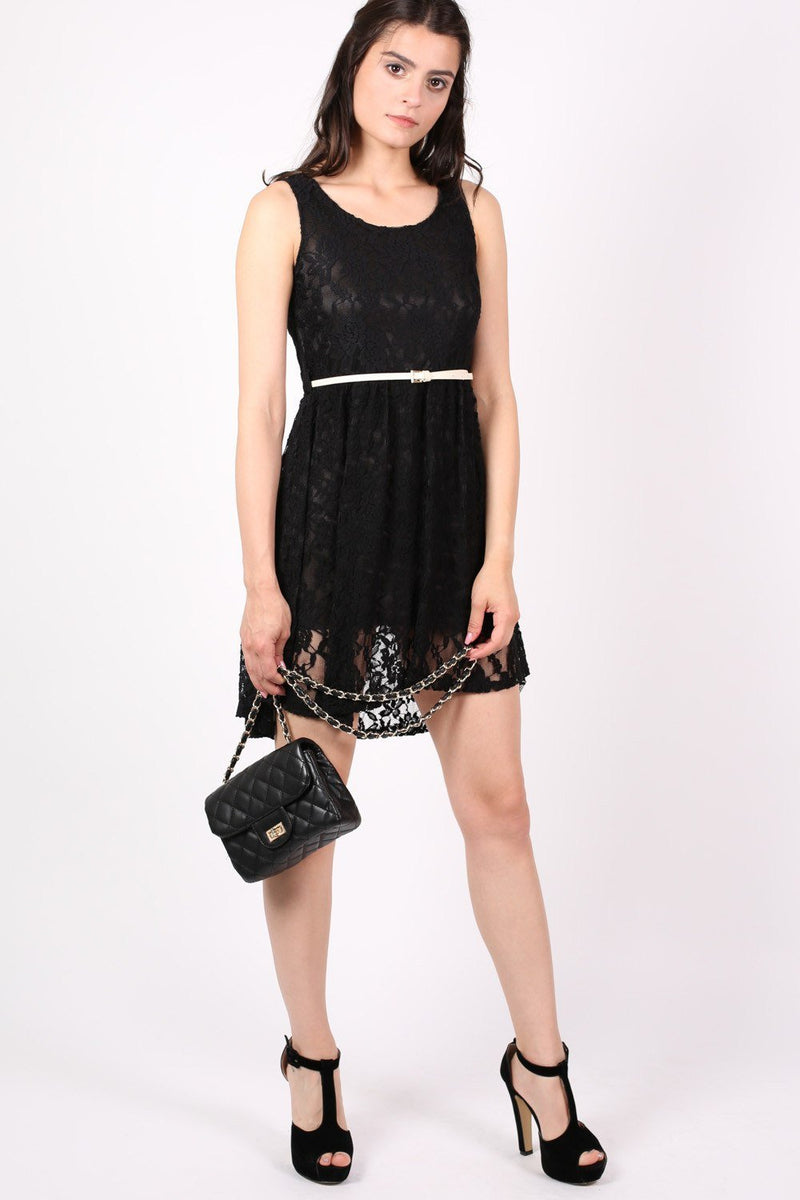 Floaty Lace Sleeveless Skater Dress With Belt in Black 5