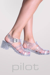 Block Heel Jelly Sandals in Clear Glitter 1
