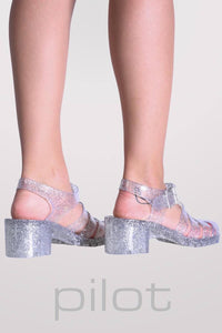 Block Heel Jelly Sandals in Clear Glitter 2
