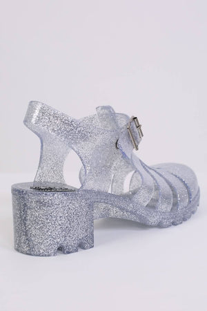 Block Heel Jelly Sandals in Clear Glitter 5