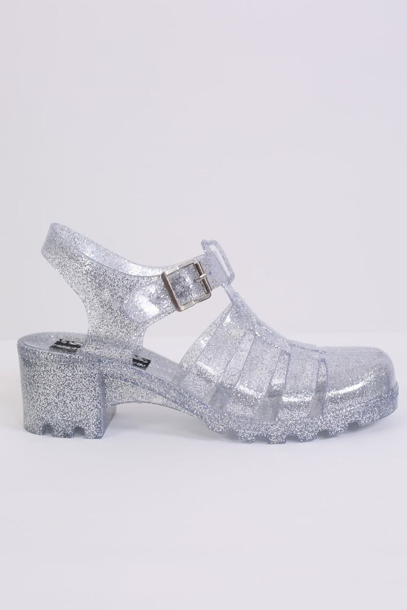 Block Heel Jelly Sandals in Clear Glitter 4