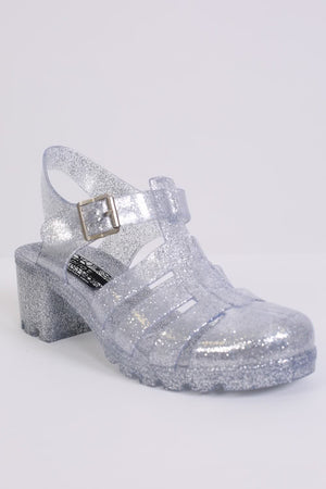 Block Heel Jelly Sandals in Clear Glitter 3