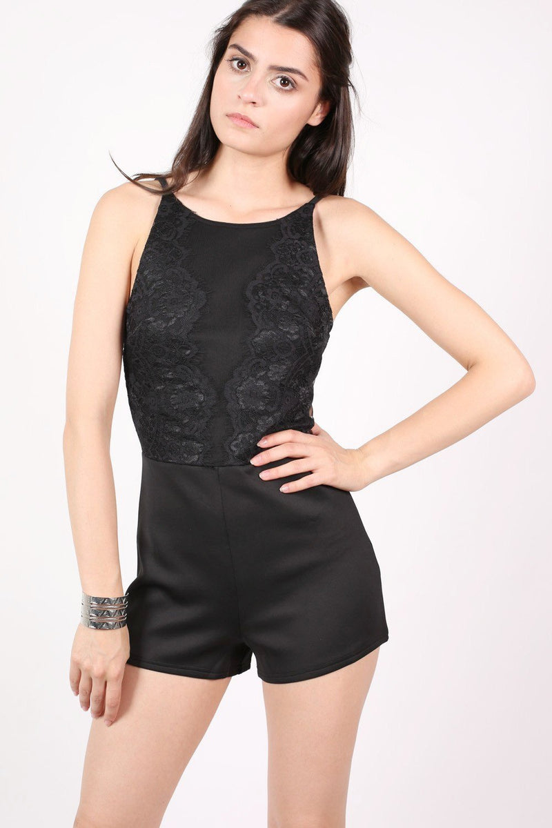 Strappy Lace Detail Playsuit in Black 0