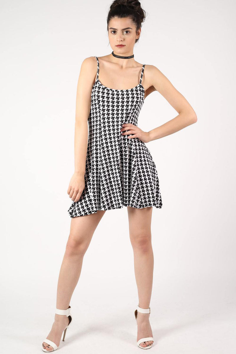 Strappy Dog Tooth Print Swing Dress in Black 0