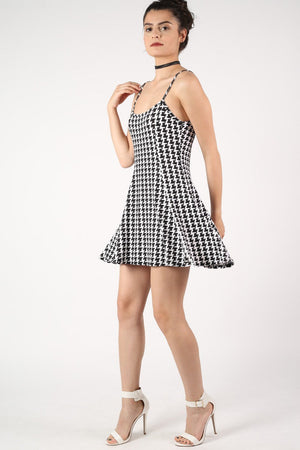 Strappy Dog Tooth Print Swing Dress in Black 1
