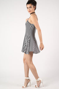 Strappy Dog Tooth Print Swing Dress in Black 3