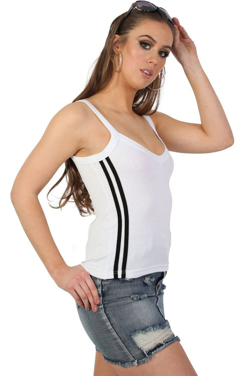 Strappy Double Side Stripe Trim Vest Top in White 2