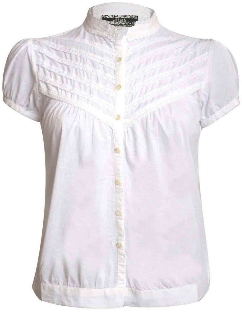 High Neck Cap Sleeve Button Front Blouse in White 2