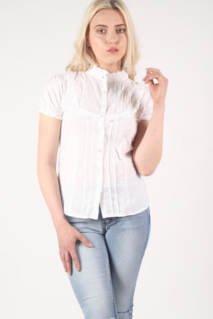 High Neck Cap Sleeve Button Front Blouse in White 1