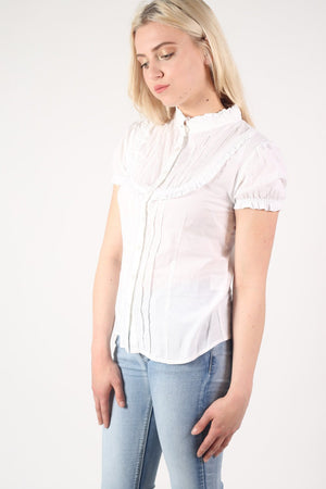 High Neck Cap Sleeve Button Front Blouse in White 3