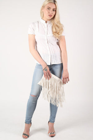 High Neck Cap Sleeve Button Front Blouse in White 5