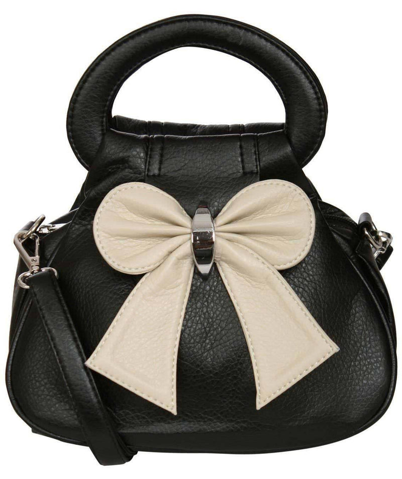 Bow Detail Mini Size Bag With Long Strap in Black 2