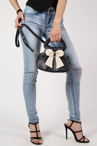 Bow Detail Mini Size Bag With Long Strap in Black 1