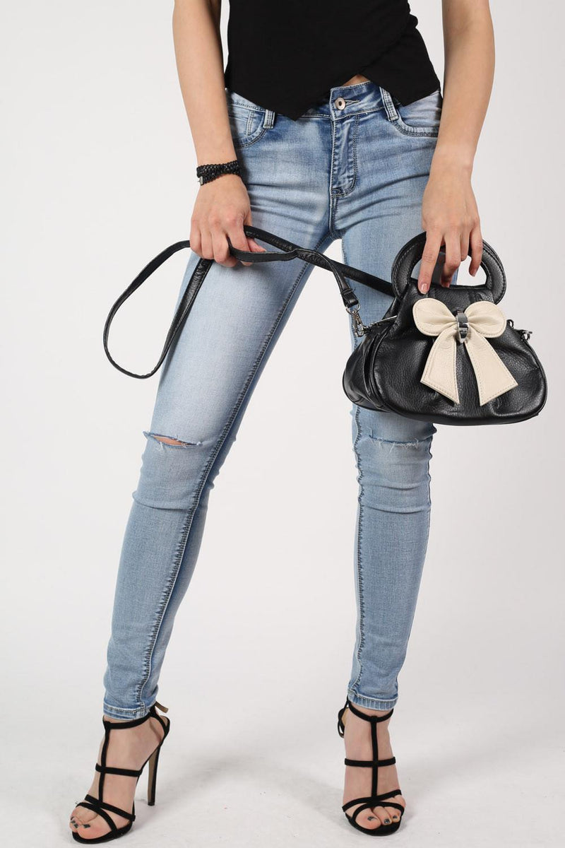 Bow Detail Mini Size Bag With Long Strap in Black 3