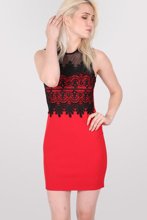 Lace And Mesh Trim Sleeveless Bodycon Dress in Red 0