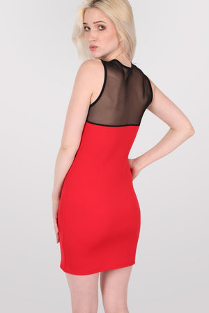 Lace And Mesh Trim Sleeveless Bodycon Dress in Red 2